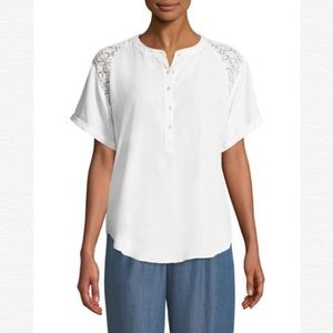 B by Bobeau Carey white dolman lace woven blouse